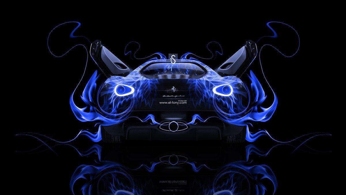 Elegant Ferrari Sergio Back Blue Fire Abstract Car 2014