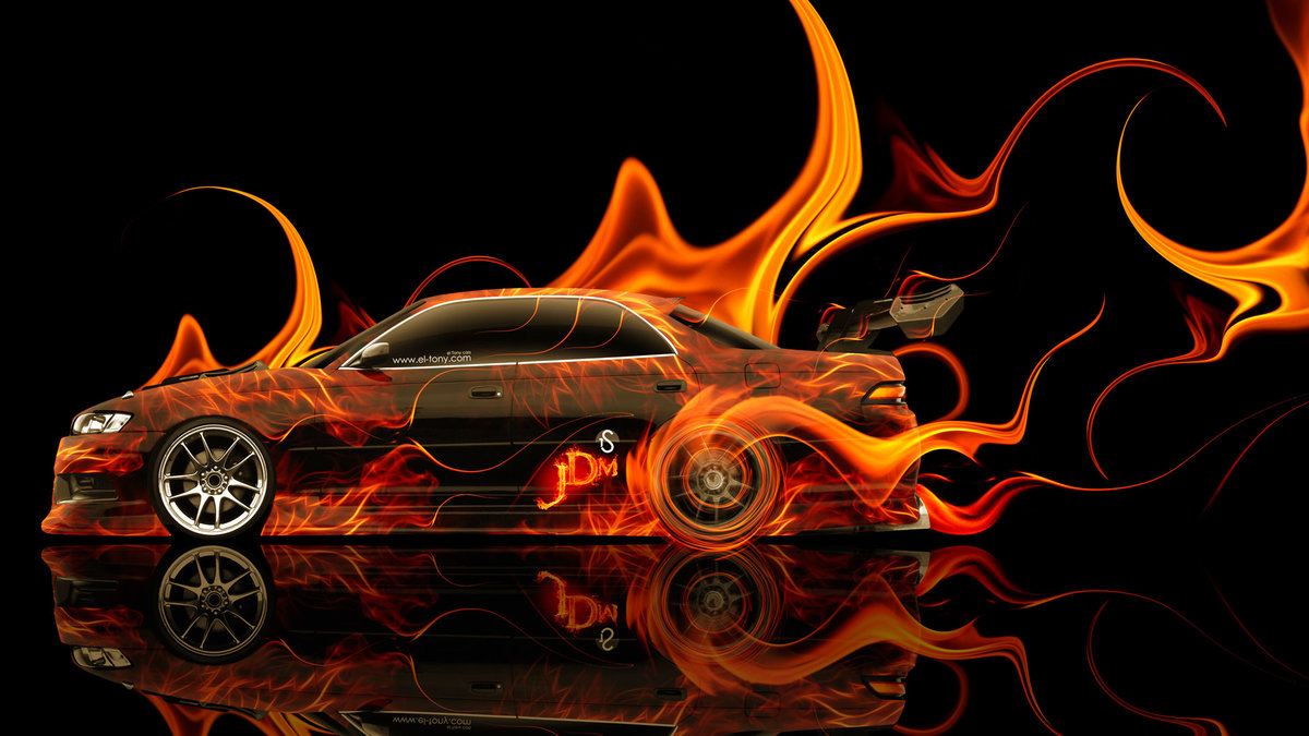 Attractive Toyota Mark 2 JZX90 JDM Tuning Side Fire