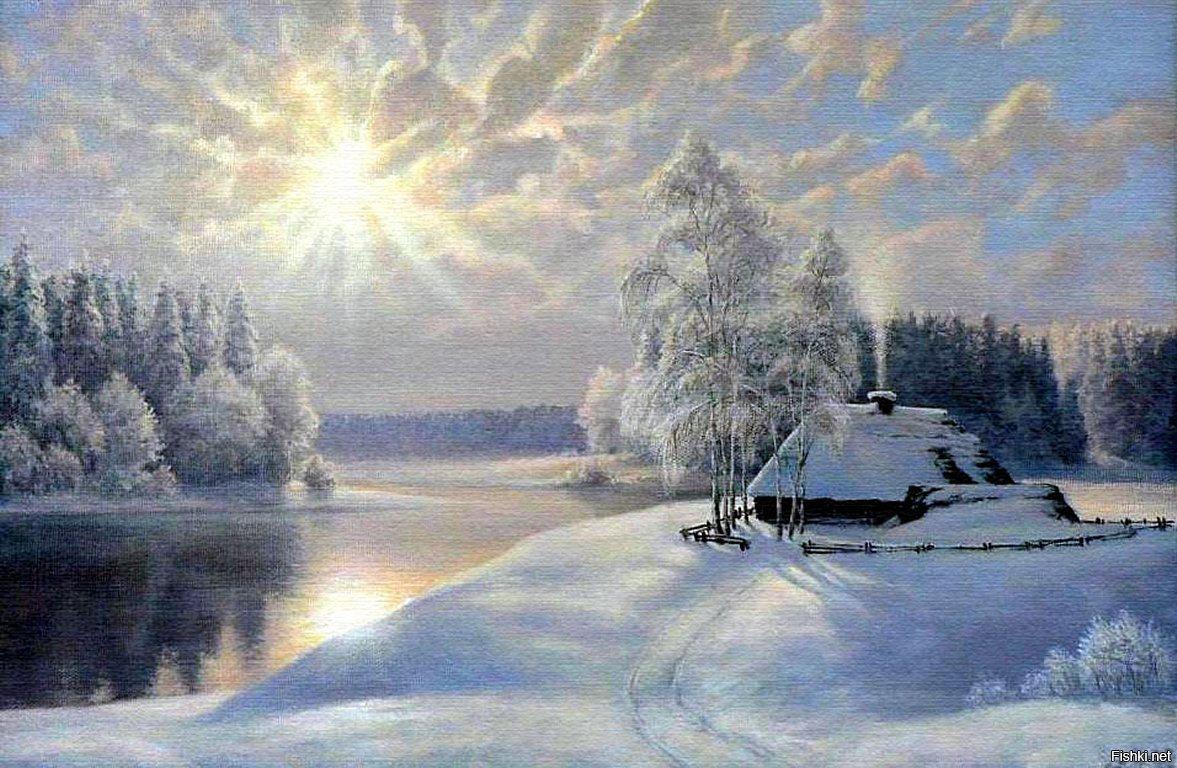 Зимнее утро картинки и рисунки можно