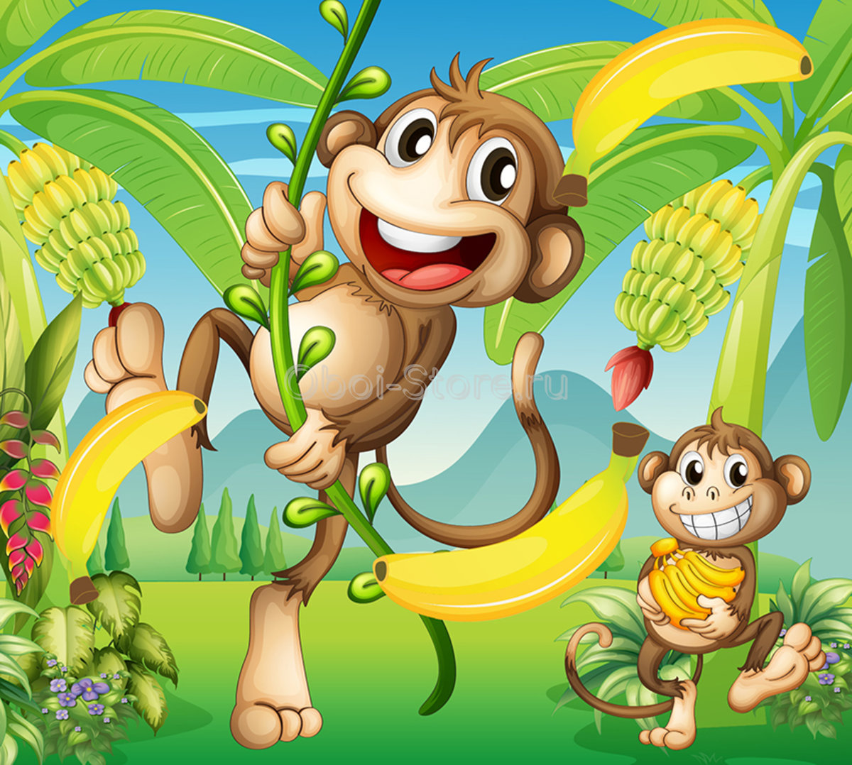 пусть картинки обезьянка с бананами можете просто использовать