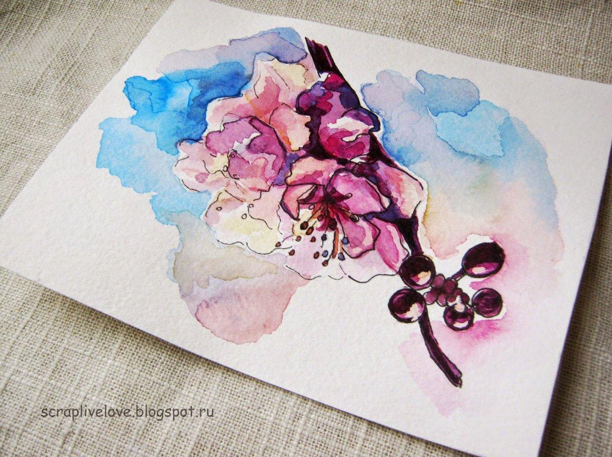 Бумага для открыток акварель, картинки