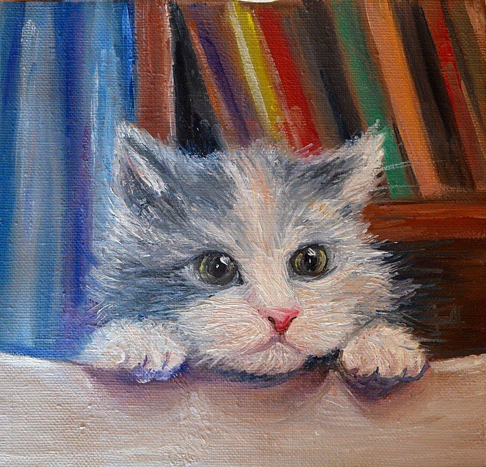 Картинки котов нарисованные красками