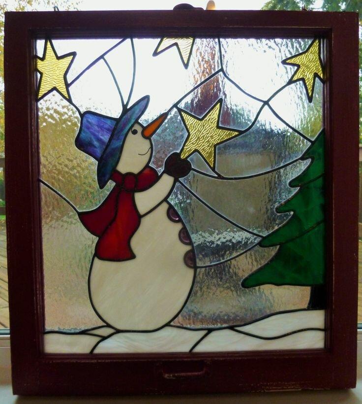 Витражные картинки на окно к новому году