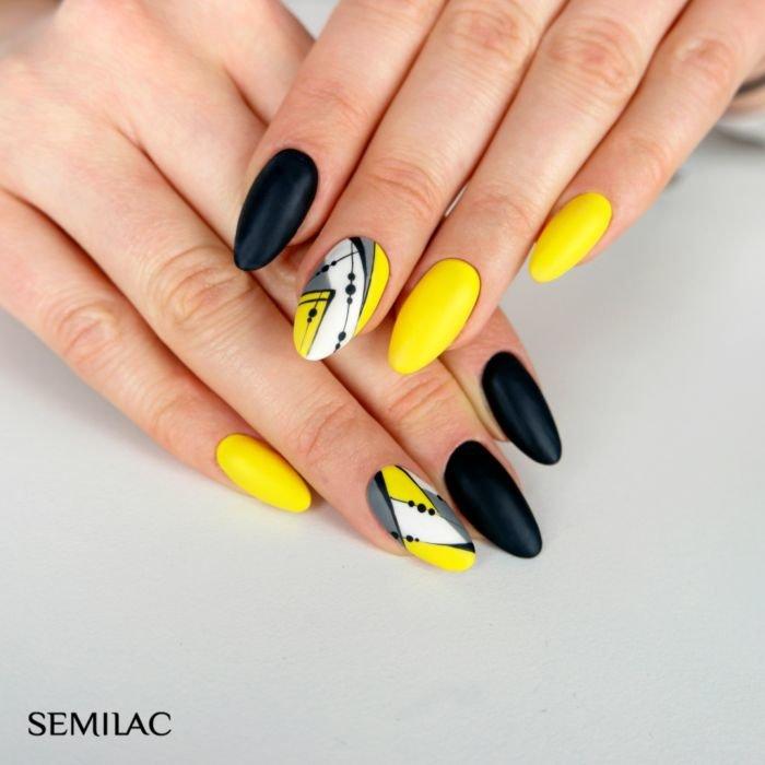 черно-желтый маникюр фото
