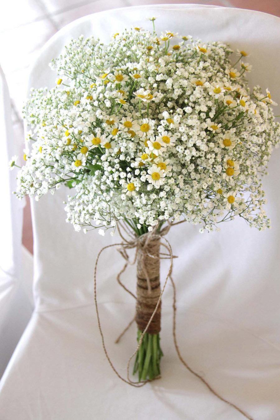 Свадебные букеты ромашек, валентинки