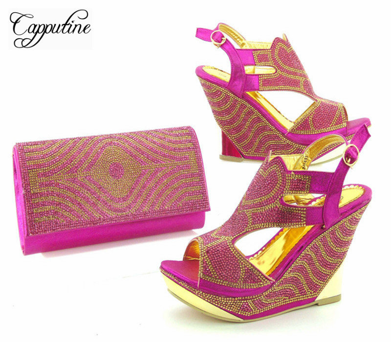 Capputine New Arrival Italian Fuchsia Color Shoes And Bag Set Africa Style  Wedges Heels Shoes And 1ae9ed73eeb9