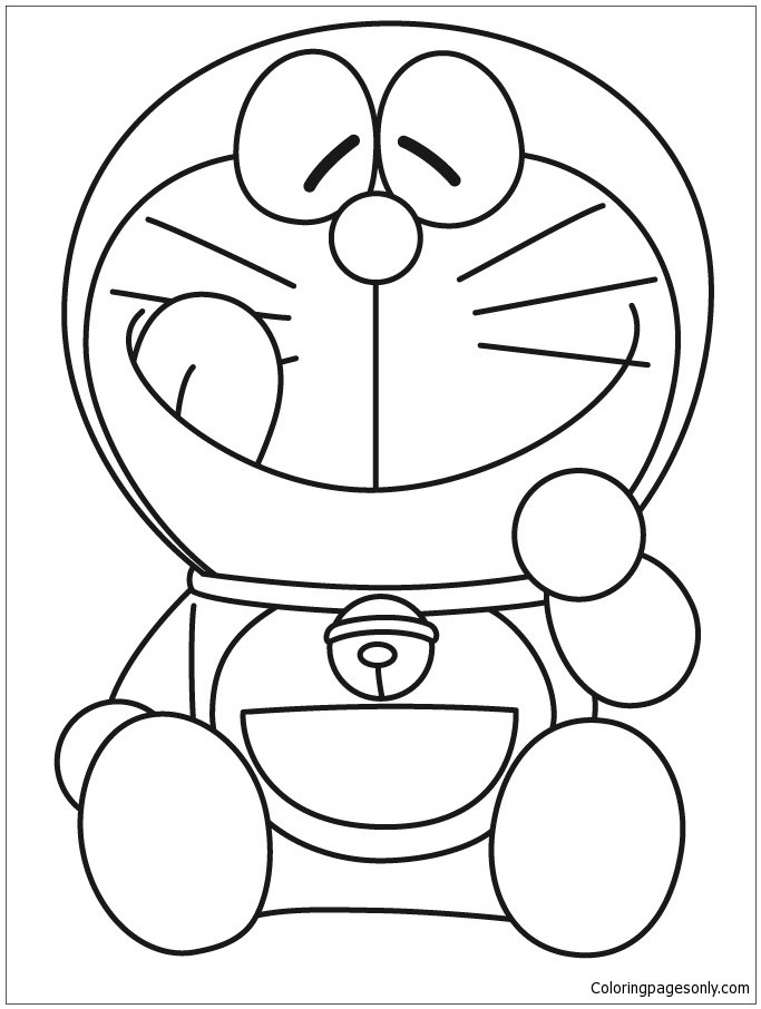 doraemon smiling with tongue out coloring page card from user coloringpages in yandexcollections - Doraemon Colouring Book