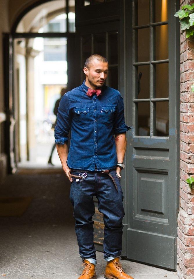 джинсовый мужской стрит стайл фото неё