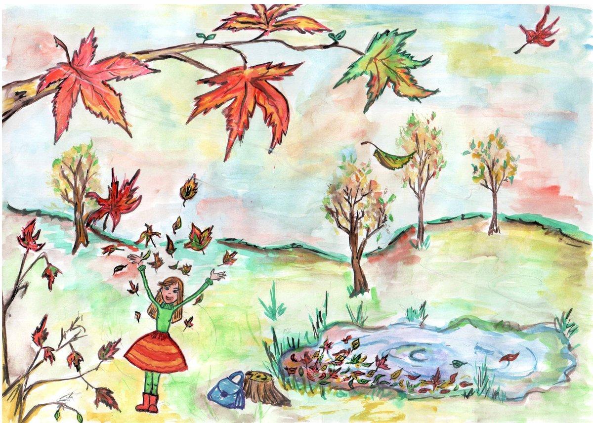 Золотая осень картинка срисовать, днем рождения
