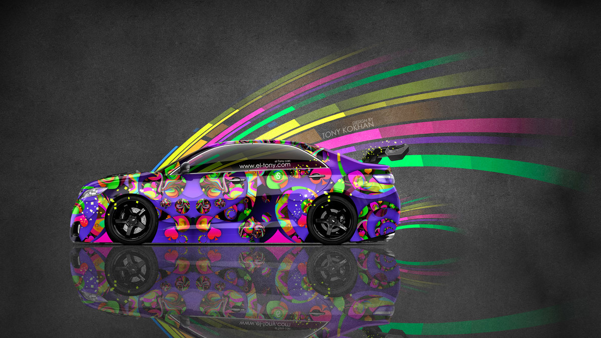 Toyota Camry JDM Tuning Side Super Abstract Aerography
