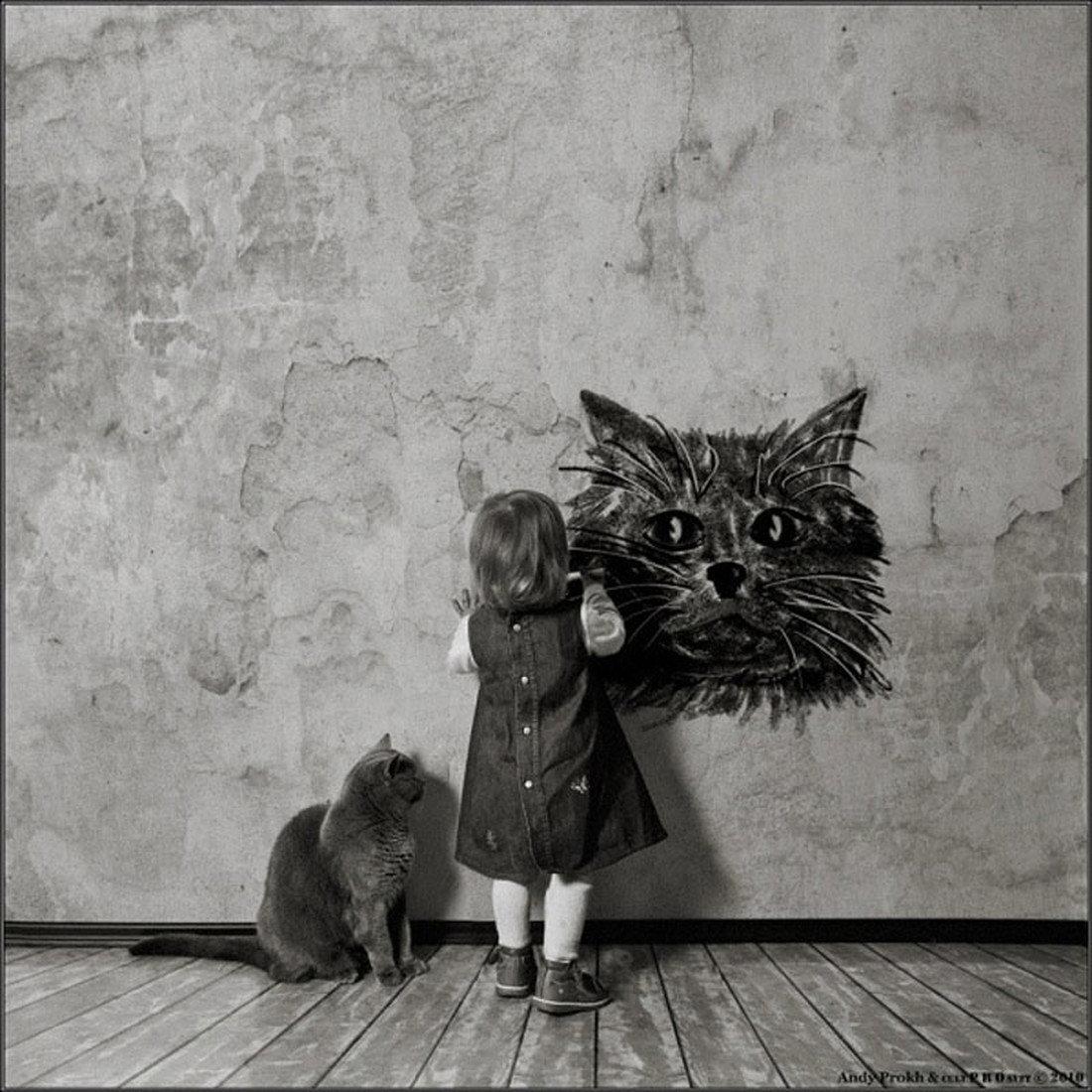 Черно-белые картинки о детях смешные, хной руке