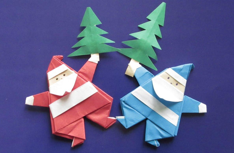 Открытка дед мороз своими руками из бумаги оригами, лет день рождения