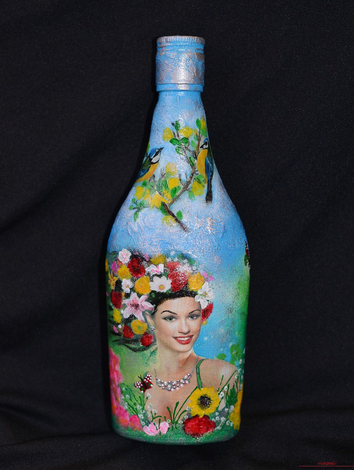 Декупаж открыток на бутылке