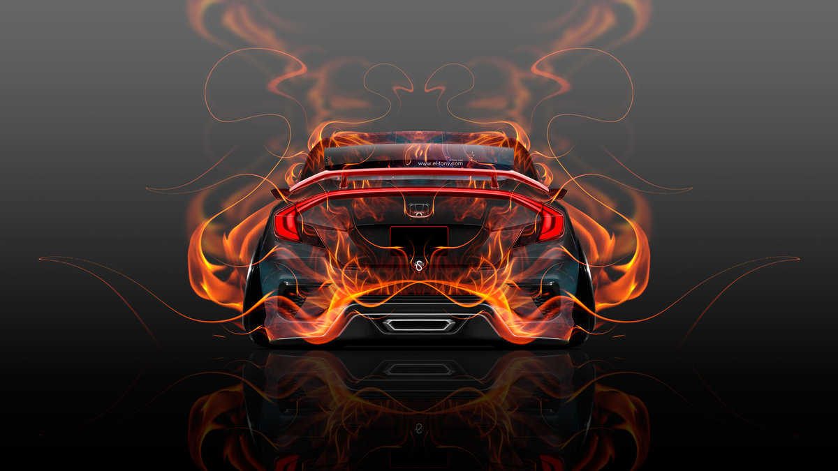 Honda Civic JDM Back Fire Abstract Car 2015