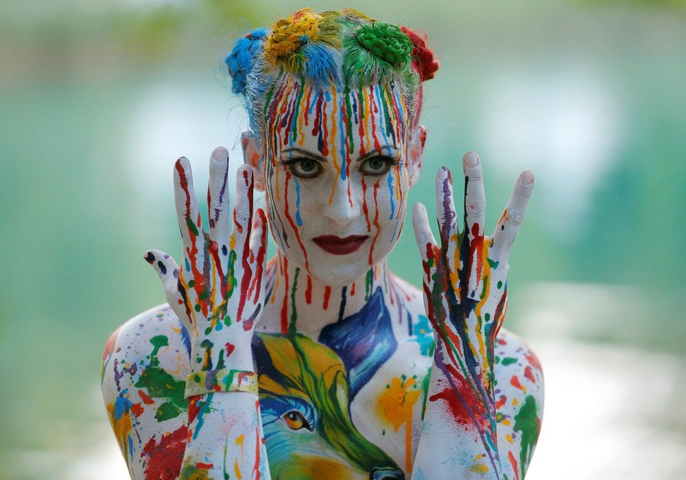 Рисунок на теле красками, идеи прикольные