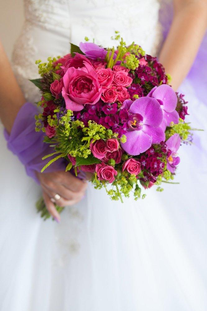 Букет невесты розово-фиолетовый