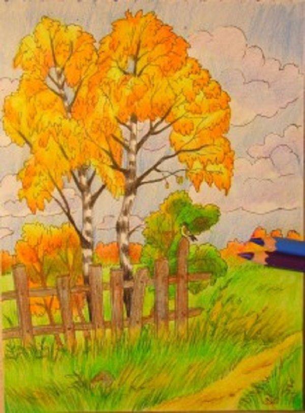 Картинки карандашами осени для детей