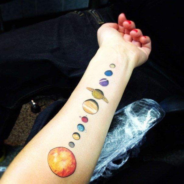 тату солнечная система на руке фото