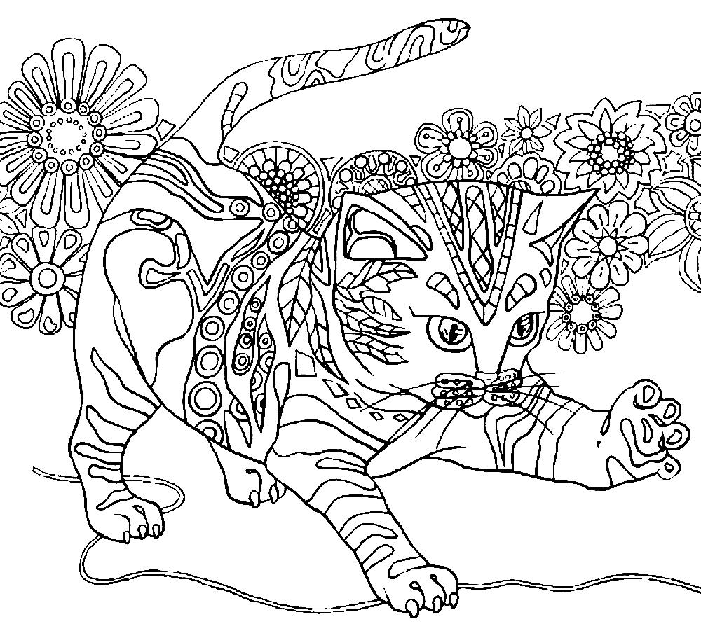 Раскраски коты с узорами распечатать