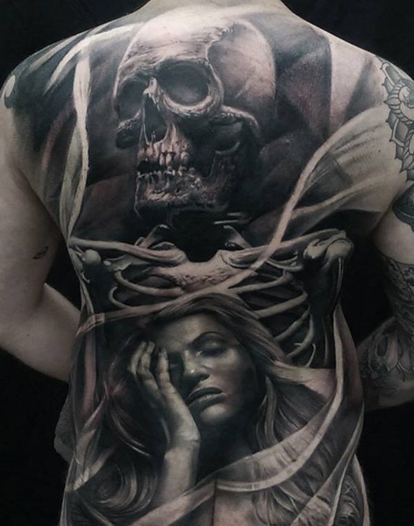 78a86dde51a43 ... 100 Awesome Back Tattoo Ideas | Art and Design 3D Skull and portrait full  back tattoo