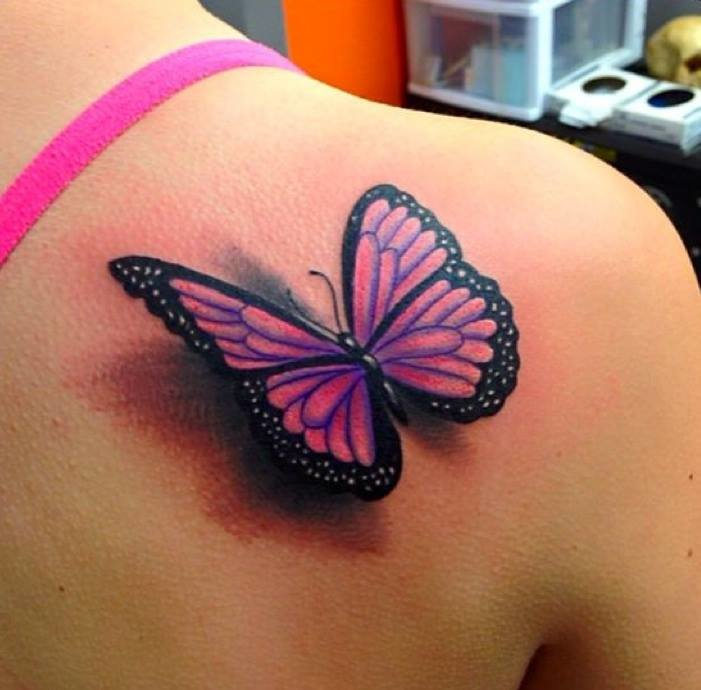 Cute 3d Butterfly Tattoo On Right Back Shoulder Tattoo Maze