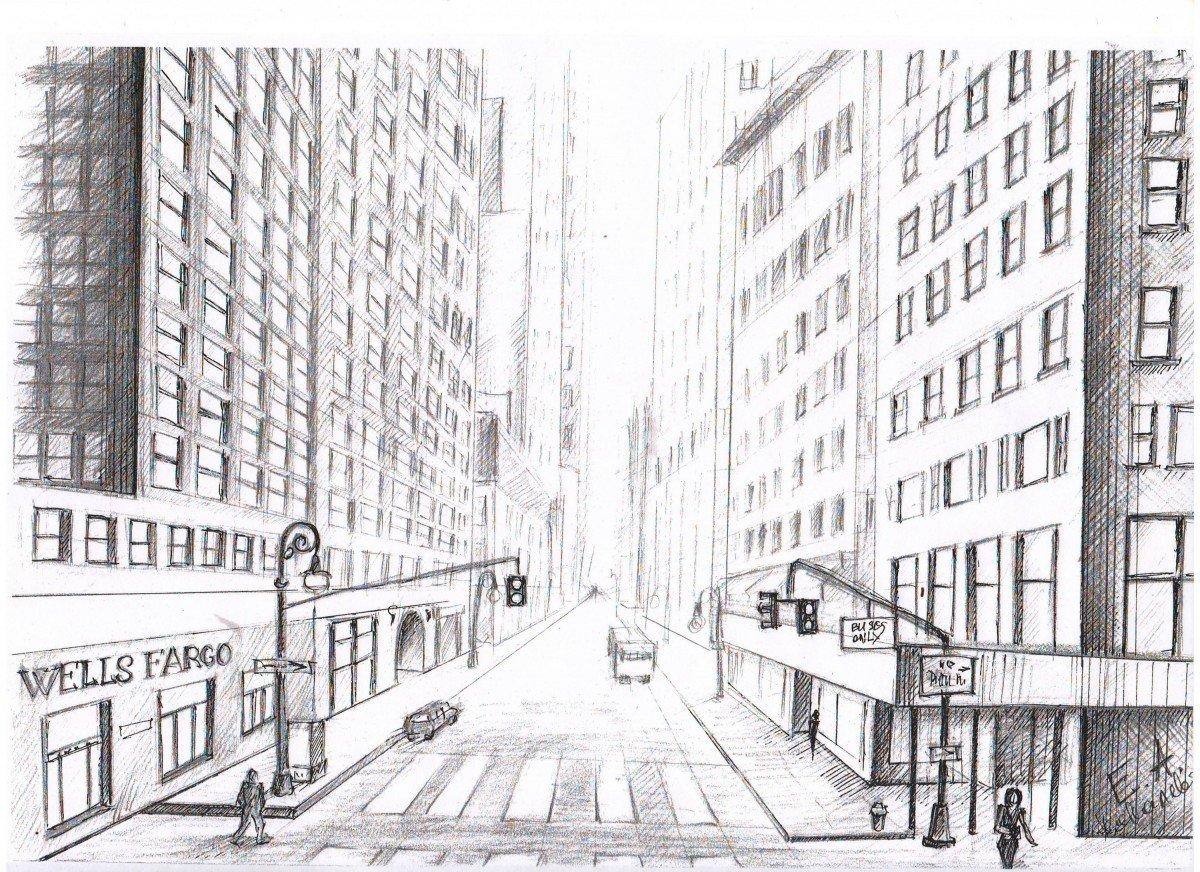 вагонов, рисунок улицы города карандашом для начинающих себе