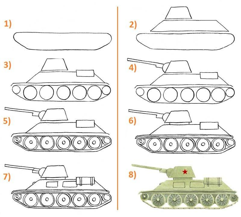 Нарисовать танк для открытки