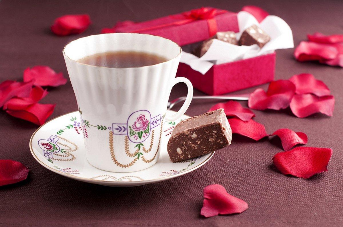 Утренние открытки кофе и цветы и сладости, открытки днем