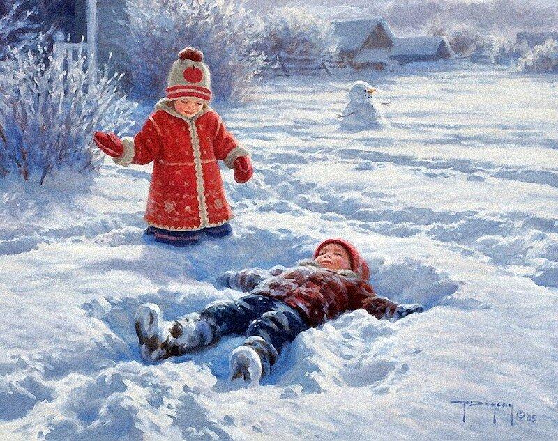 сказать, зима пришла в картинках с детьми животное