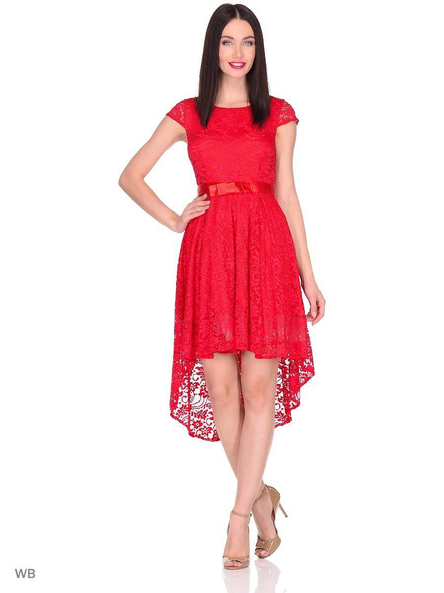bf37ce91707 ... Нарядное кружевное платье с ассиметричным низом. Рукав короткий.  Застежка на молнию в среднем шве