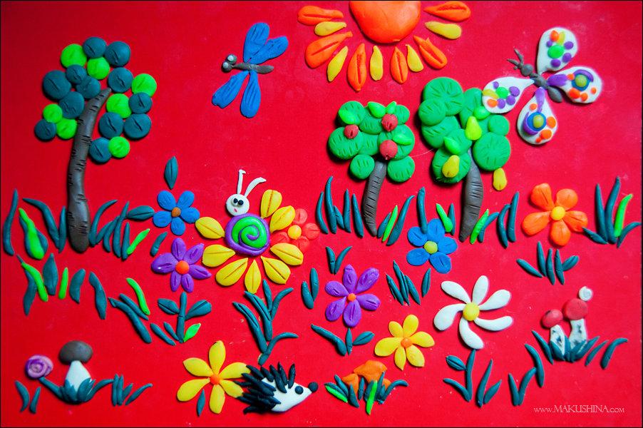 Картинка из пластилина на картоне для детей презентация