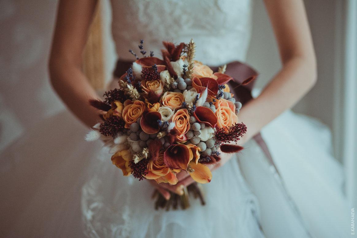 Свадьба осенью букет, листьев клена
