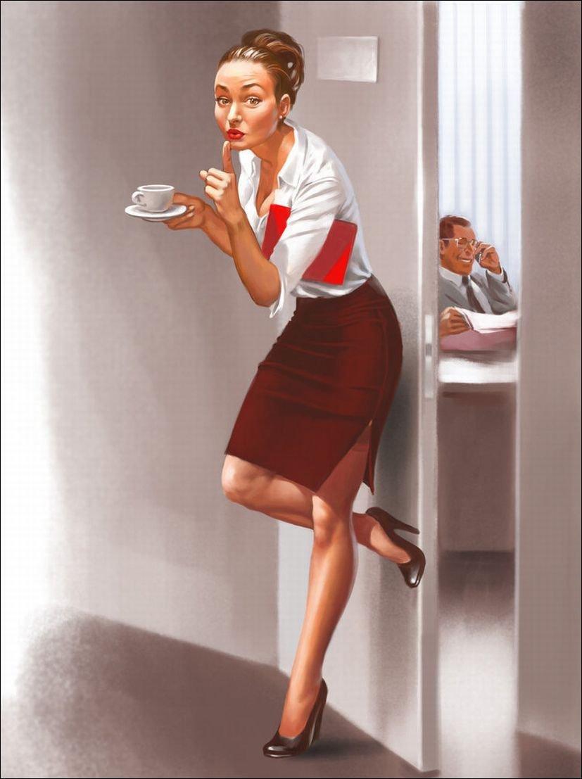 Открытка урок, рисованные картинки секретарша