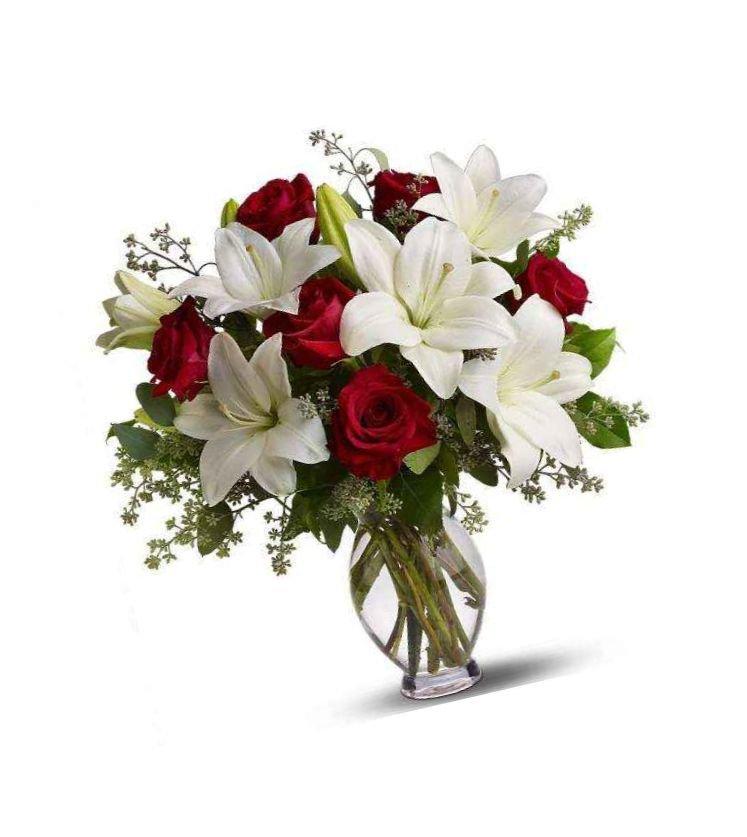 Цветной букет из лилии и роз фото, букетов живых