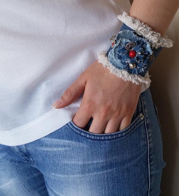 джинсовый браслет фото принципу