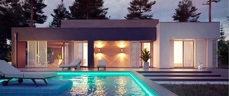 Вечернее освещение террасы в стиле хай-тек