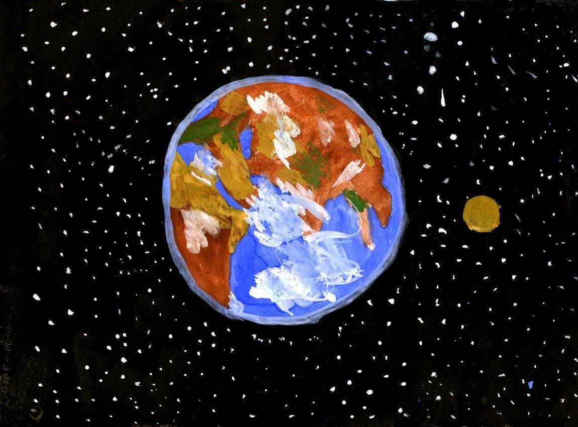 отличный пример рисунок планеты земля из космоса самом деле фото