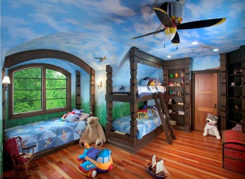 отделка комнаты в небесном стиле