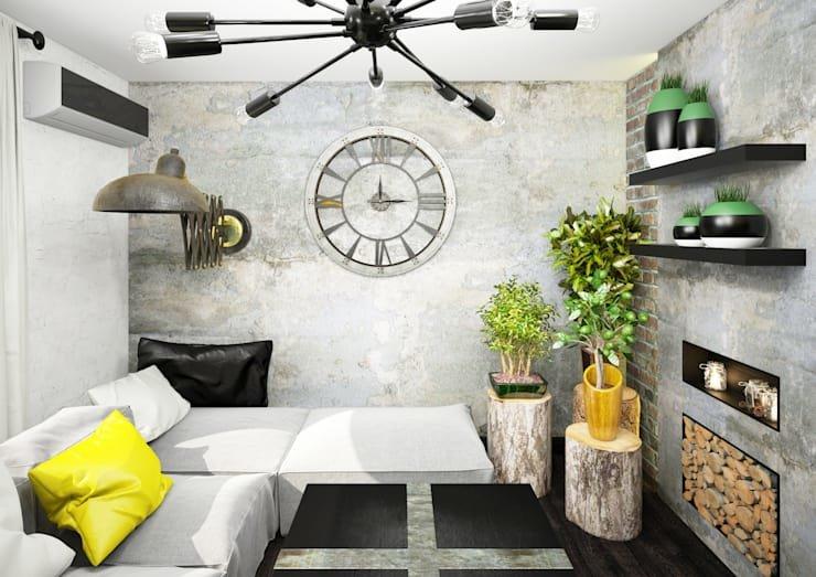 Растения в бетонной маленькой гостиной с черной люстрой