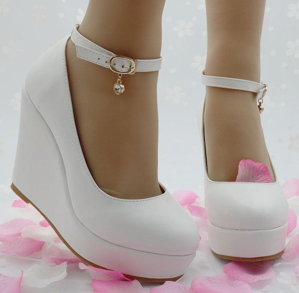 81a6ad252 ... Купить товар Элегантные белые туфли на танкетке Женские туфли лодочки  на танкетке белые туфли на высоком