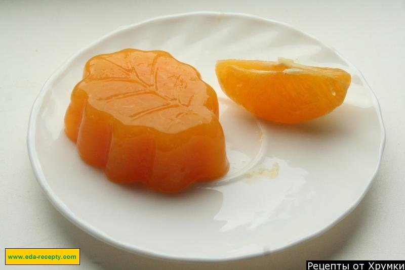 Желе из сока апельсина.