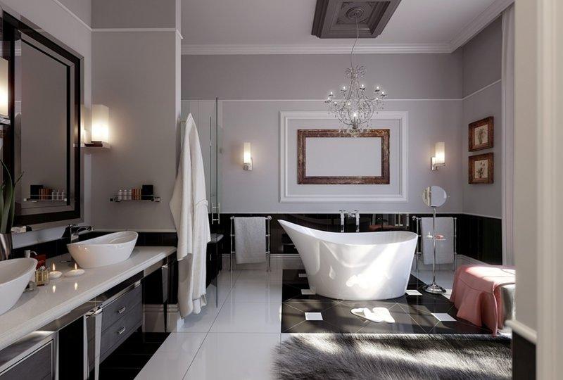 Современные варианты освещение в ванной комнате