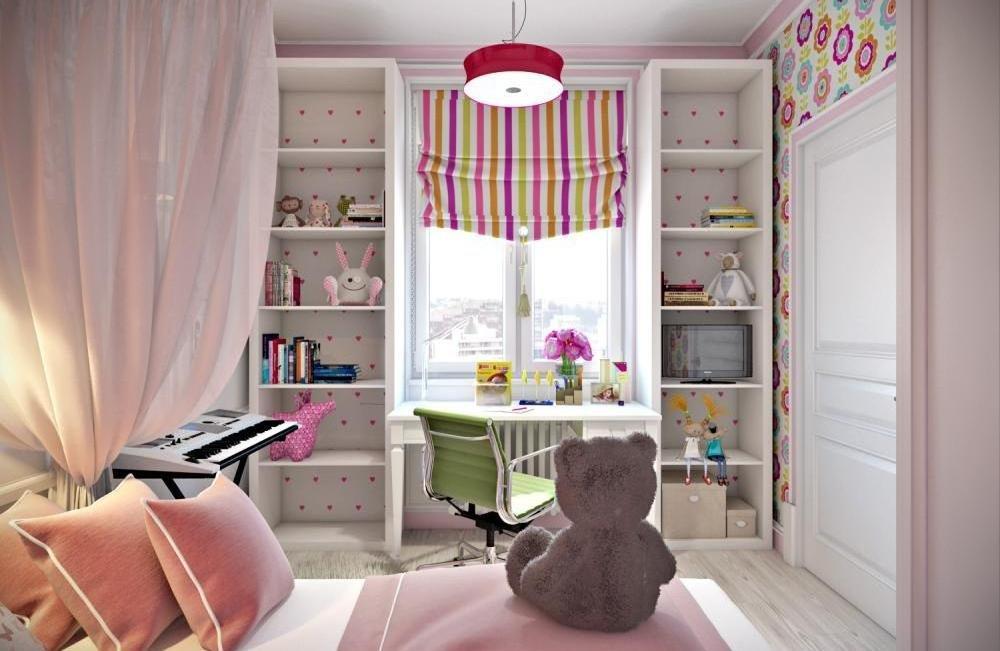 Рабочее место в детской комнате устроено возле окна. дополни.