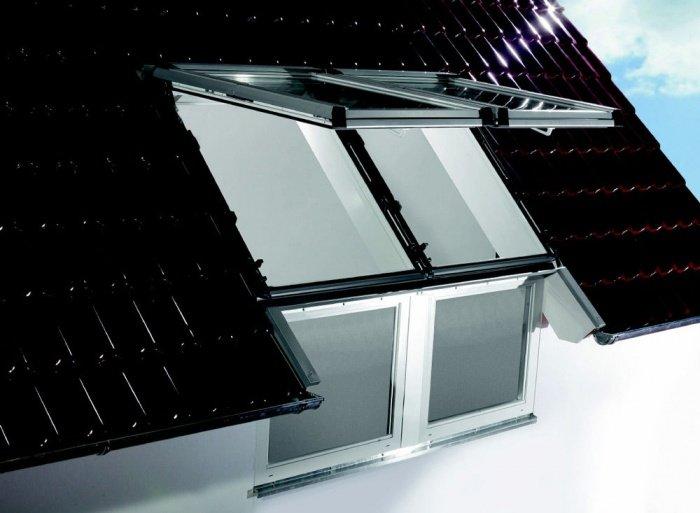 Мансардное окно с механизмом открывания наверх
