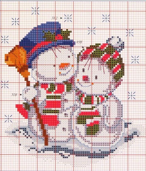 Схема вышивки влюбленные снеговики.