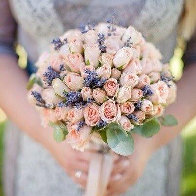 Букет невесты: лаванда и розы