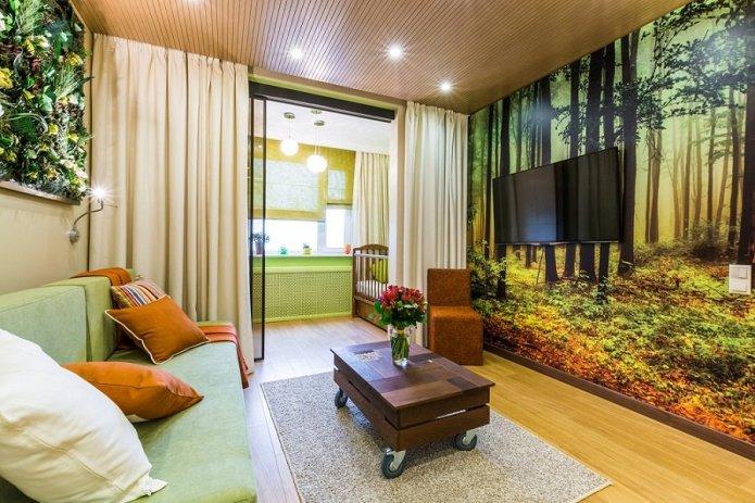 Интересная идея обоев для гостиной в дизайне стиля эко.