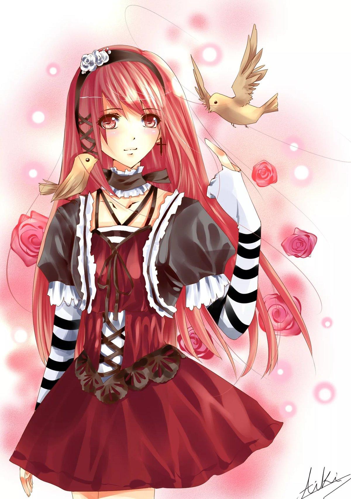 Аниме картинки девушек с красными волосами