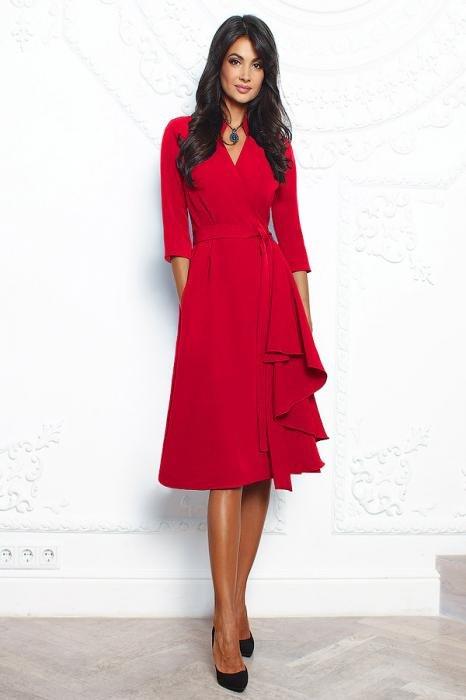 a323e444ca0 ... Купить красное платье миди с воланом и воротником стойка выгодно в  интернет магазине City-moda