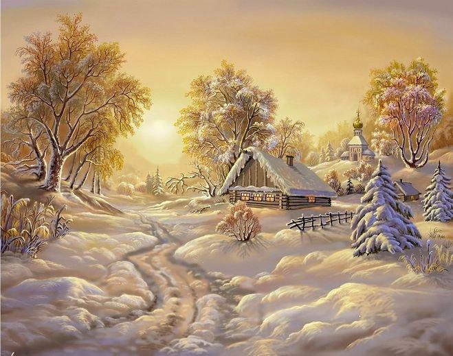 Если же использовать цветные карандаши, то любой зимний пейзаж